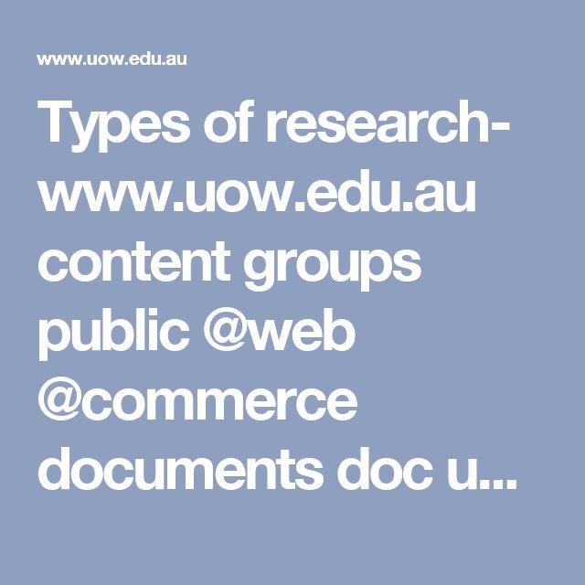 Types of research-  www.uow.edu.au content groups public @web @commerce documents doc uow012042.pdf