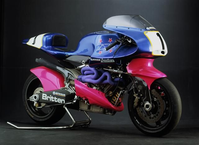 The Britten V1000 is a handbuilt race motorcycle designed and built by John Britten and a group of friends in Christchurch, New Zealand during the early 1990s. The bike went on to win the Battle of the Twins in Daytona, USA and set a number of world speed records.  The bike was designed from first principles and hosts a number of innovations including extensive use of carbon fibre, the radiator located under the seat, double wishbone front suspension, frameless chassis and engine data…