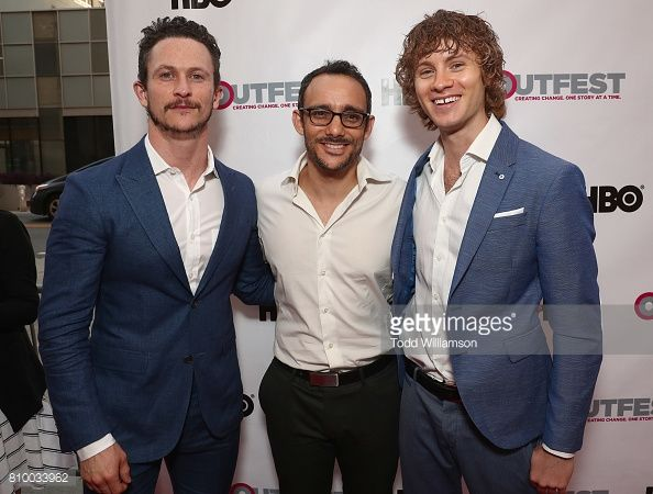 Jonathan Tucker, Omid Abtahi and Bruce Langley attend the 2017 Outfest Los Angeles LGBT Film Festival Opening Night Gala at Orpheum Theatre on July 6, 2017 in Los Angeles, California.