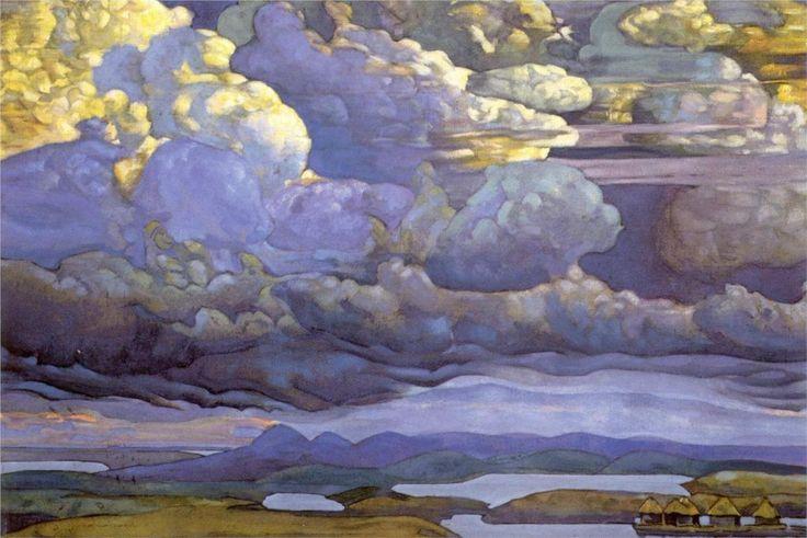 'Battle in the Heavens' by  Nicholas Roerich, 1912Artists, Battle, Russian Museums, Heavens 1912, Nicholas Roerich, Storms Clouds, Roerich 1912, Nicolas Roerich, Art Painting