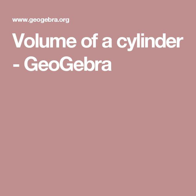 Volume of a cylinder - GeoGebra