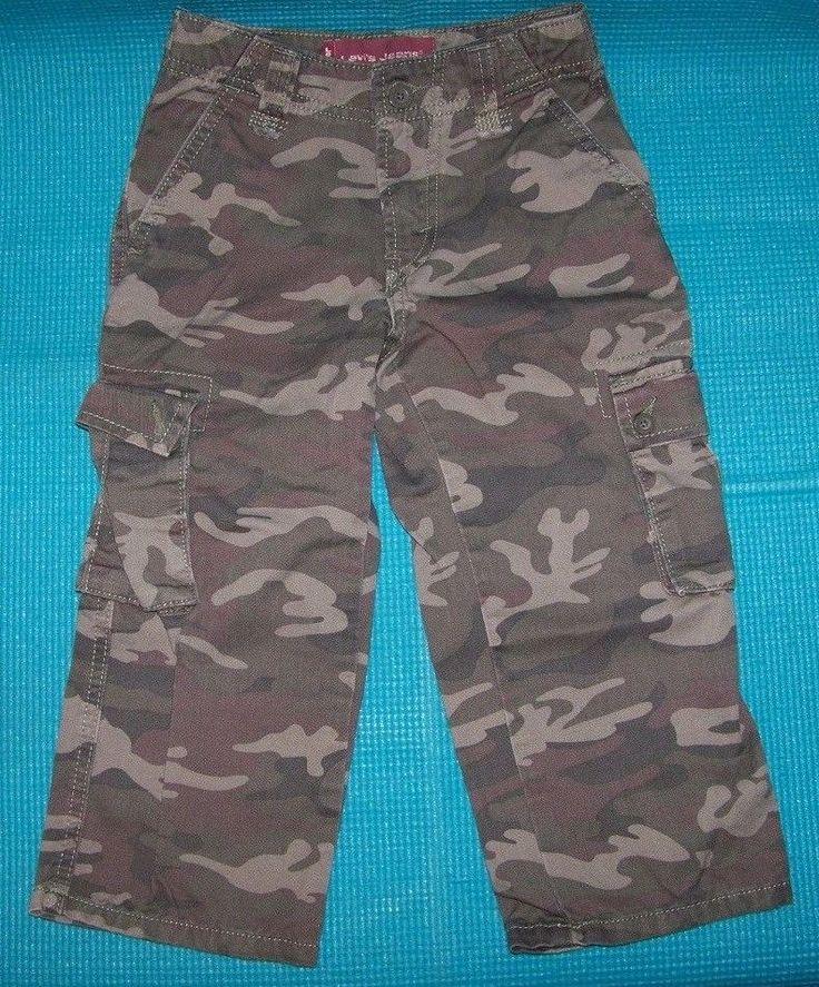 BOYS LEVIS CAMO CAMOUFLAGE CARGO DENIM JEANS SIZE 4 ADJUSTABLE WAIST 100% COTTON #Levis #Jeans #Everyday