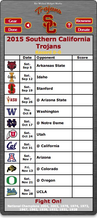 BACK OF WIDGET - Free 2015 USC Trojans Football Schedule Widget for Mac OS X - Fight On! -   National Champions 2004, 2003, 1978, 1974, 1972, 1967, 1962, 1939, 1932, 1931, 1928 http://riowww.com/teamPages/USC_Trojans.htm
