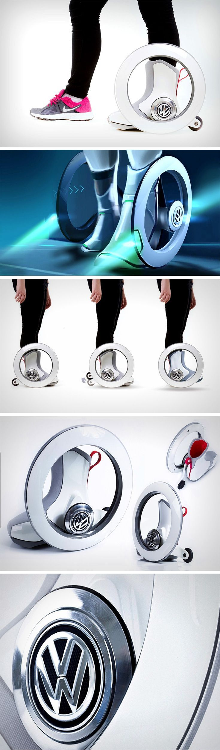 The Volkswagen Roller is a new-age roller skate. It's autonomous, and hands-free. The design comes with two main hubless wheels and two retractable rear wheels. Each roller comes with a hard-plastic shoe that you slide your feet into.