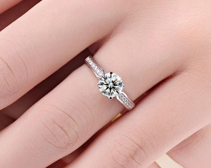 Free Shipping 1 Carat Moissanite Engagement Ring With Natural Diamonds In 18k Rose Gold Diamond Alternative Engagement Ring Diamond Alternative Engagement Ring Alternative Engagement Rings Engagement Rings Affordable
