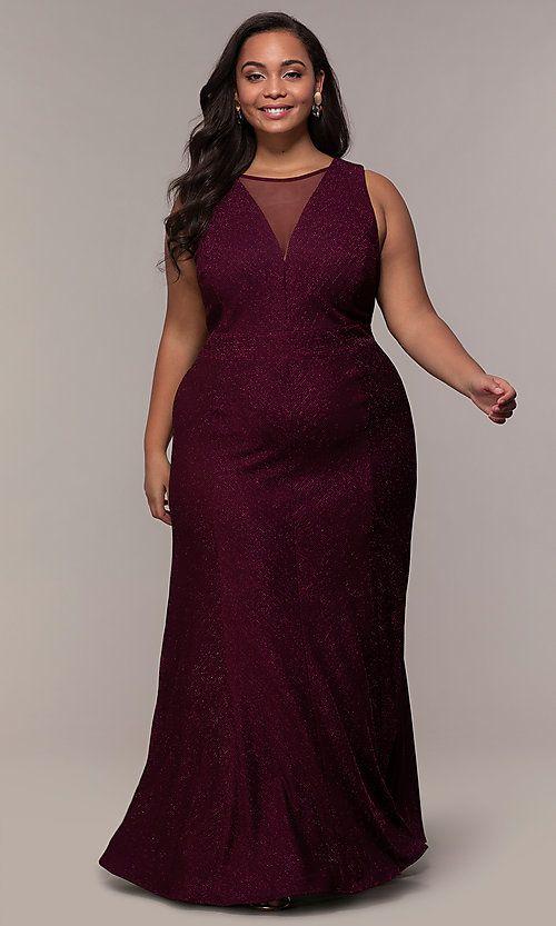 Plus-Size Long Glitter-Knit Formal Dress