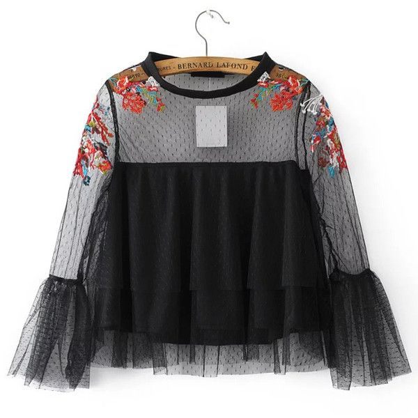 Black Embroidery Bell Cuff Mesh Blouse ($23) ❤ liked on Polyvore featuring tops, blouses, embroidery top, mesh top, embroidered blouse, embroidered mesh top and embroidery blouses