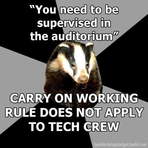 """Backstage Badger"" ""You need to be supervised in the auditorium"", carry on working, the rule does not apply to the tech crew."