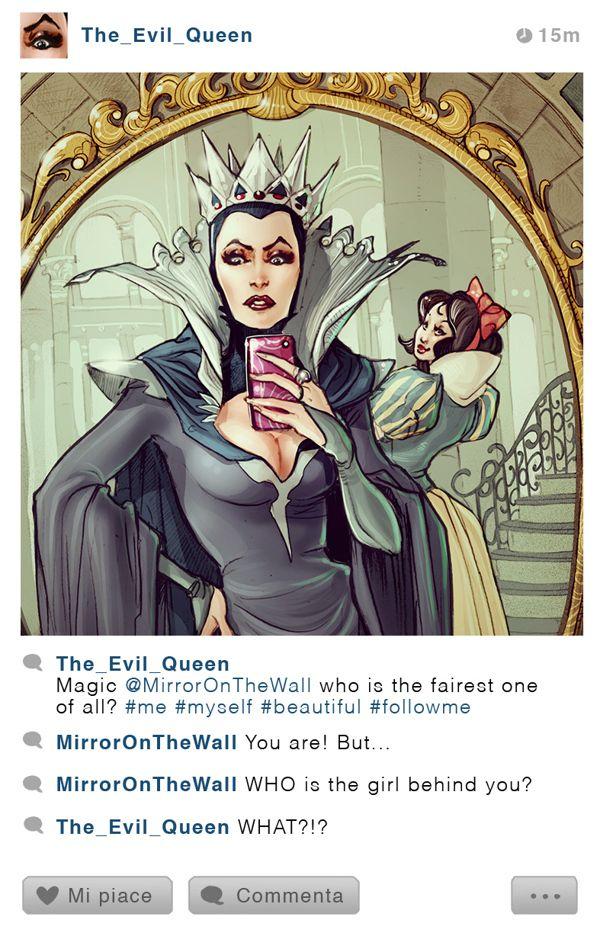 """The Mirror Selfie: The Evil Queen & Snow White"" by Simona Bonafini"