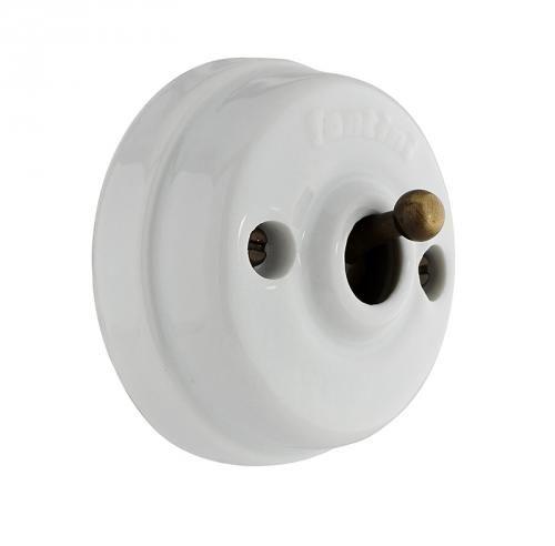 Strömbrytare, vit porslin, utanpåliggande - Gammaldags