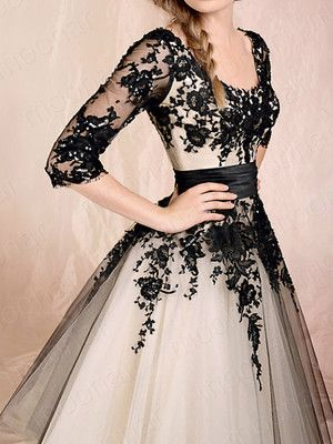 White and Black Sheer Floral Prom Formal Party Gowns Wedding Dress