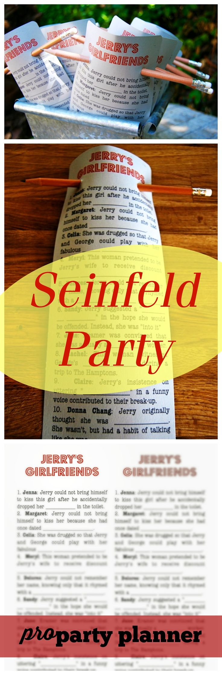 Seinfeld Theme Party Printable // www.propartyplanner.com/seinfeld-theme-party / Pro Party Planner /