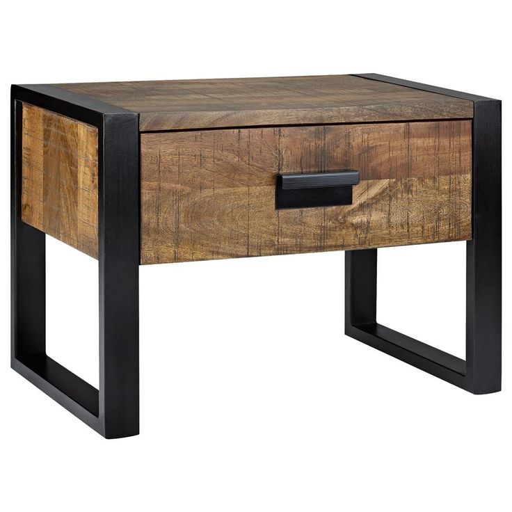 Atelier industrial chic wood nightstand with metal legs industriel m t - Table de nuit style industriel ...