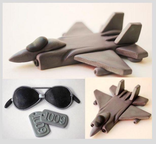Fondant Jet Plane Cake Toppers Set - Fondant Aviator Sunglasses - Fondant Dog Tags - Fondant Airplane Cake Topper Set by Les Pop Sweets on Gourmly