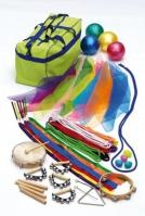 Rhythm and Movement Set  Contents:  10 jump ropes  6 double rhythm  ribbons, 10 scarfs,  4 balls, 2 pair of claves,  4 hand bells, 4 chicken  shakes, 1 hand drum,  1 headless tambourine,  1 triangle  List Price: R2238.50