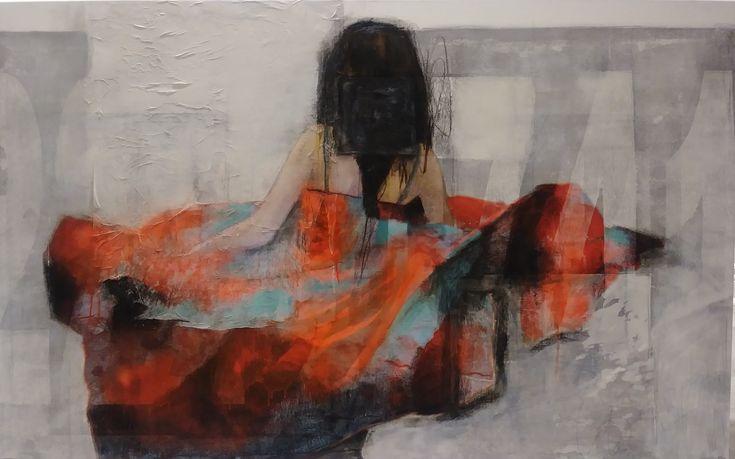 """Oeuvre de Joann Côté , """"Move On"""" technique mixtes sur  toile, 37 x 56 po."""