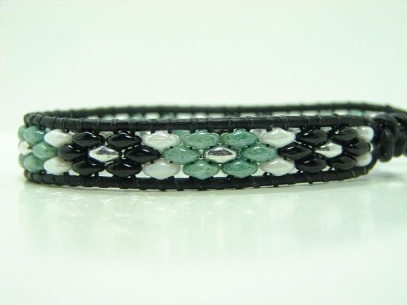 Beaded Leather Wrap Bracelet Black Super Duo Wrap by jlktreasures