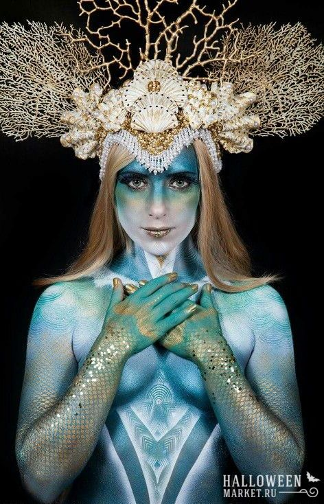 #crown #mermaid #makeup #costume #halloweenmarket #halloween  #морскаятема #русалка Корона и прическа русалки на хэллоуин (фото)