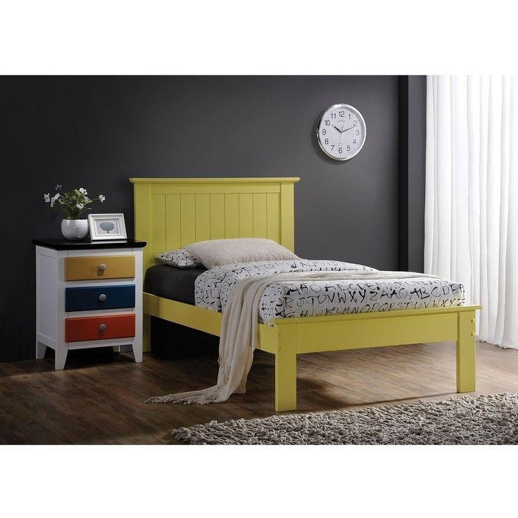 Prentiss Yellow Beadboard Headboard Panel Bed