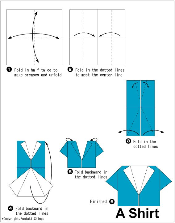 Origami Shirt instructions - origami kids clothing information