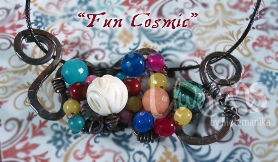 Fun Cosmic agate beads, white coral, dyed river stone, copper wire (flattened, oxidized) SOLD