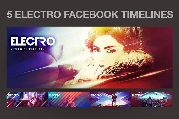 5 Electro Facebook Timeline Covers by styleWish on @creativemarket