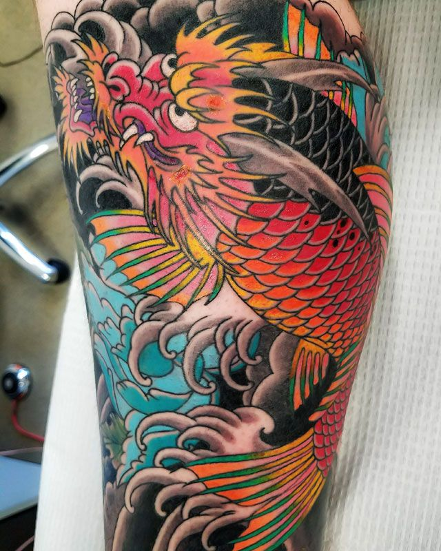 Koi dragon tattoo by Adam Sky Resolution Tattoo San Francisco California Japanese tattoo sleeve