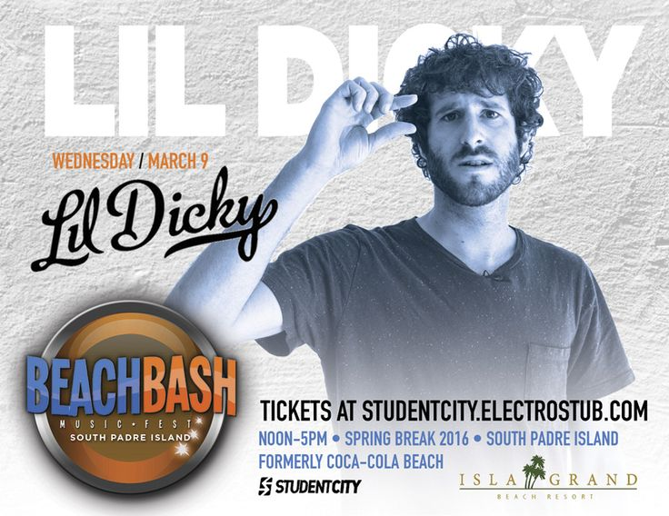cool South Padre Island Beach Bash Music Fest @ Isla Grand Beach Resort Featuring Lil Dicky at Isla Grand Hotel 2016-03-09 11:00:00 tickets Check it out at https://discotek.club/concerts/south-padre-island-beach-bash-music-fest-isla-grand-beach-resort-featuring-lil-dicky-at-isla-grand-hotel-2016-03-09-110000-tickets/