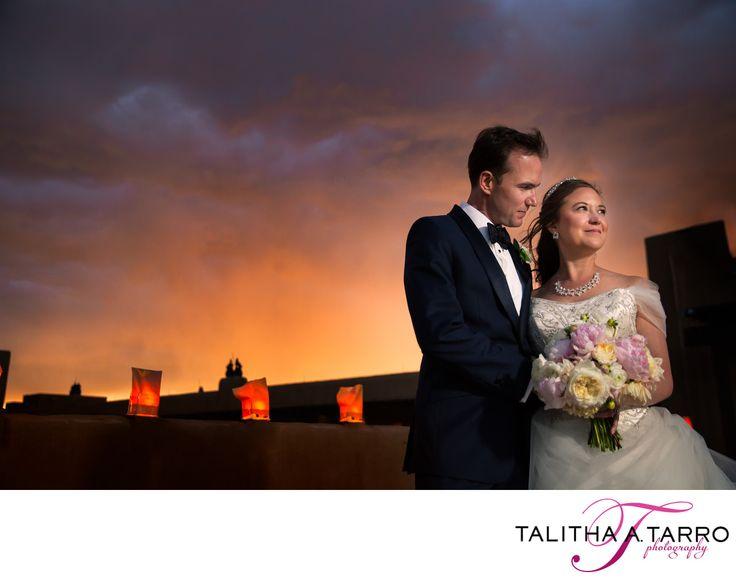 Romantic Wedding Portrait. Bride and Groom Portraits. Night Photography. Paper Lanterns. Unique Wedding Photography.