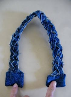 Braided denim for handles Creating my way to Success: Upcycling Jeans