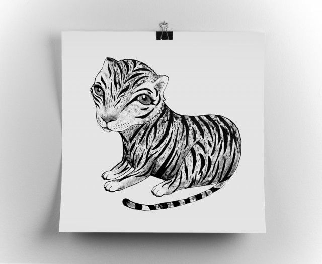 Tiger, poster by Tvinkla #nordicdesigncollective #tvinkla #tiger #animal #baby #cubb #wildanimal #animalprint