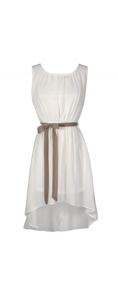 Simpler Times High Low Contrast Sash Dress in White/Taupe  www.lilyboutique.com