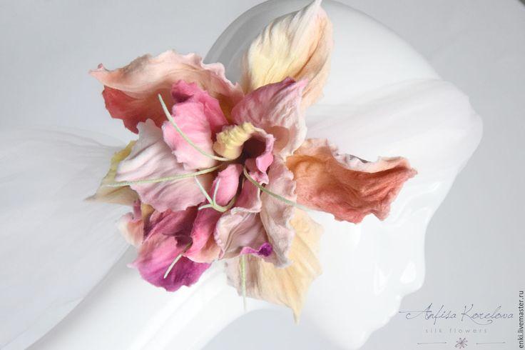 Купить Необычное украшение - Цветок Лилейника. - шелковые цветы, цветы из шелка, анфиса корелова