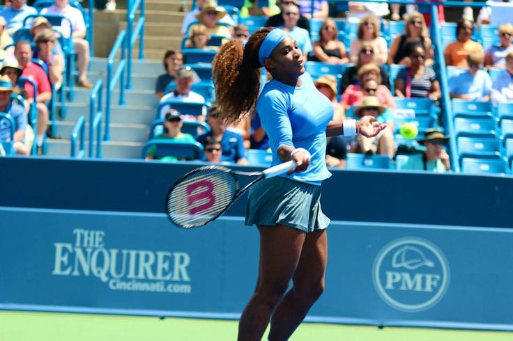 World #1 Serena Williams hits a forehand during her 2nd round match v Eugenie Bouchard at the Western & Southern Open. Serena won 4-6, 6-2, 6-2. 8/14/13 #TeamSerena