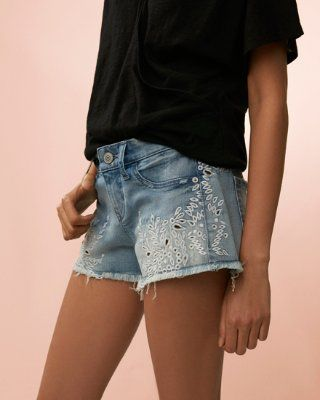 low rise embroidered denim cutoff shorts