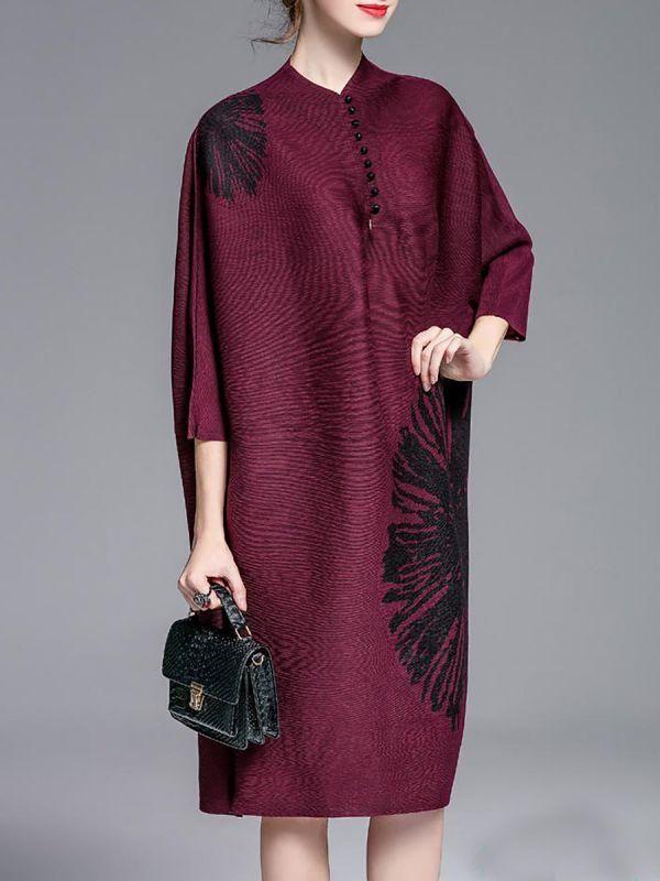 Midi Dress Shift Daytime Dress Batwing Casual Buttoned Plus Size ...