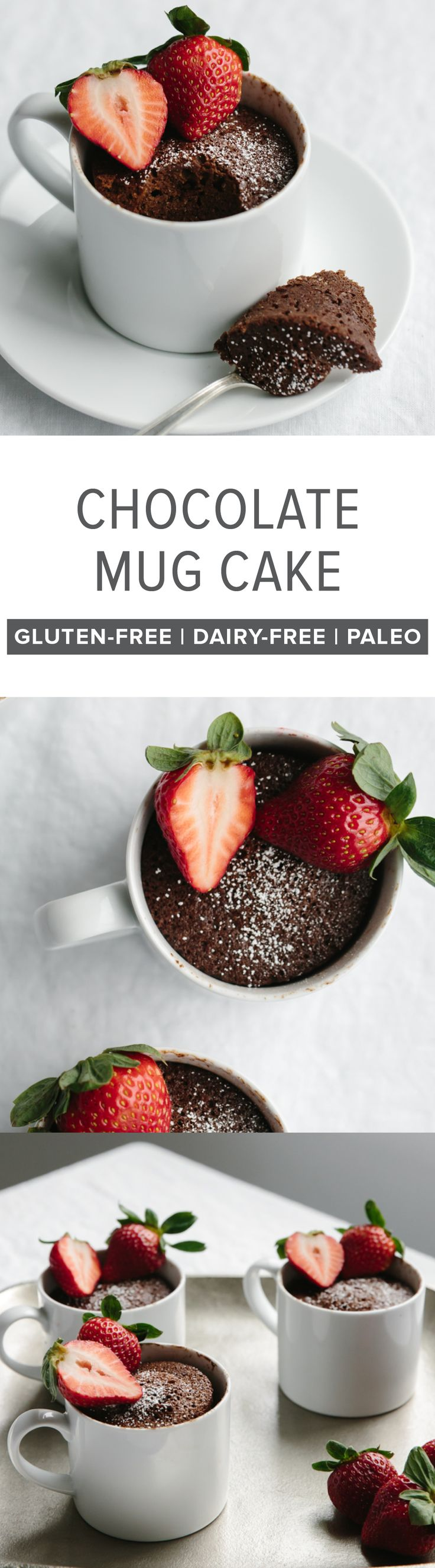 (gluten-free, paleo) A delicious, healthy and moist chocolate mug cake that can be made in less than two minutes - super easy! #Chocolate #MugCake #GlutenFree #Paleo #DairyFree #ChocolateMugCake
