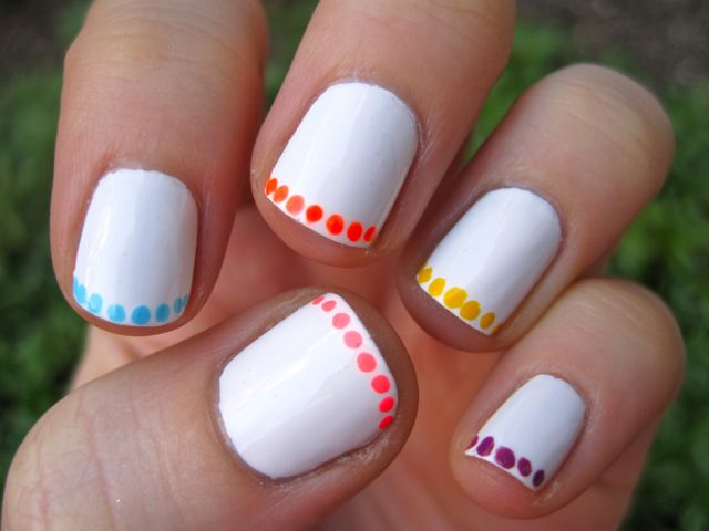 nail art: neon polka dot french manicure