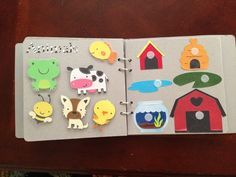 Laminated busy book, it looks so cute and sturdy! I wanna make one for the various kiddies in my life. Details here: http://www.reddit.com/r/crafts/comments/1kmlw2/preschooler_busy_book_details_in_comments/