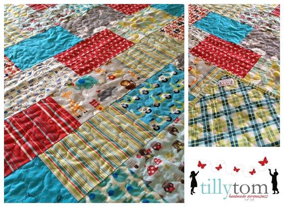 tillytom    cot / crib quilt boys fabrics by tillytomdesigns, $180.00