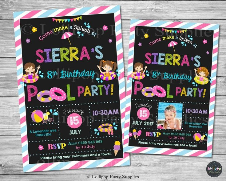 Pool Party Invitation - Personalised - Printed or Digital File - Ship Worldwide!  Visit www.lollipoppartysupplies.com.au