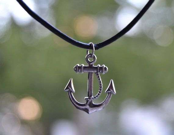 Anchor Antique Silver Charm Choker Or Necklace. Black Leather Cord. #anchornecklace #summerjewelry #leathercord #leathernecklace #choker #charmchoker #anchorchoker