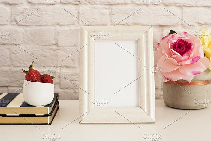 White Frame Mock up Photos Frame Mockup. White Frame Mock up. Cream Picture Frame, Vase With Pink Roses, Strawberries on Stripe by MONNKA