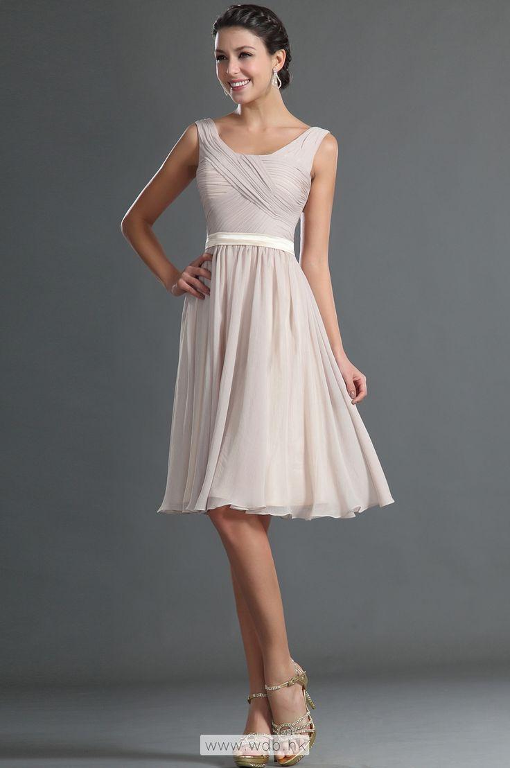 Square neck pleated bodice A-line chiffon bridesmaid dress $104.98