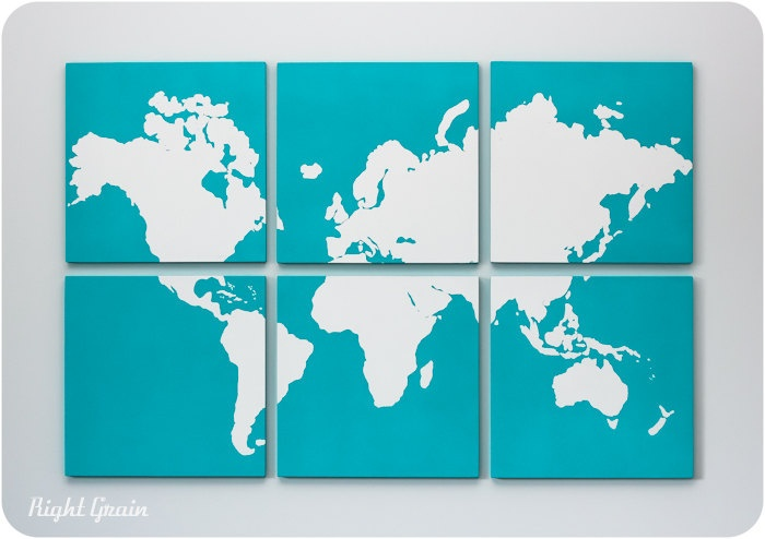 6 panel map - love this idea for the wall above the crib