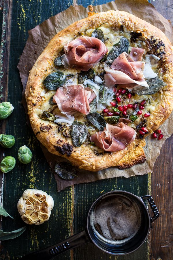 Charred Brussels Sprout Pizza with Browned Sage Butter + video! Use this simple dough kit from DeLallo to make this amazing pizza, from halfbakedharvest.com