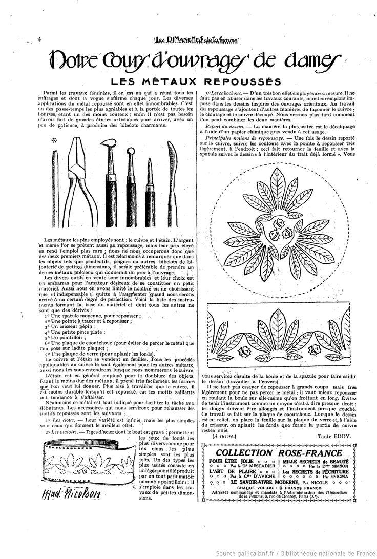 """Les Metaux Repousses Notre Cours D'Ouvrages de Dames. Les Dimanches de la femme : supplément de la """"Mode du jour"""" 1922/09/17 (A1,N28)."""