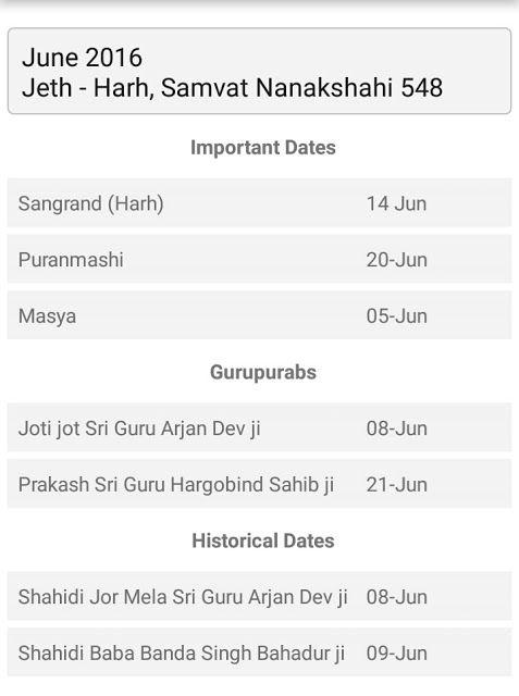 Sikh Jantri June 2016 | The Sikh World