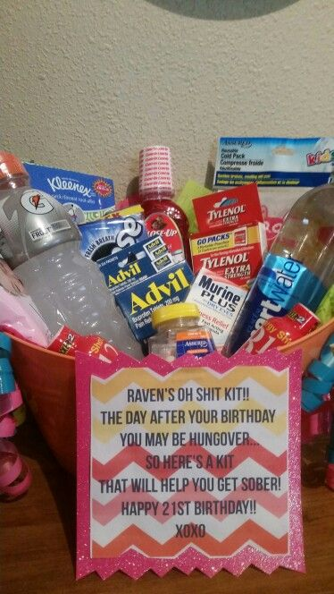 """Made for my Daughters 21st Birthday! An """"OH SHIT KIT!!"""" to help with the day after HANGOVER!"""