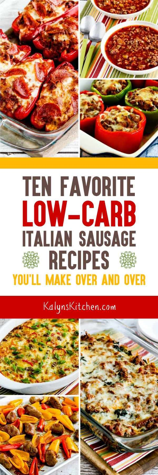 Italian Sausage is one of my absolute favorite low-carb ingredients, and here are my Favorite Low-Carb Italian Sausage Recipes You'll Make Over and Over! Whether you use turkey or pork Italian Sausage, I bet some of these might become among your favorite dinners; enjoy!  [found on KalynsKitchen.com] #LowCarbItalianSausage #ItalianSausage #ItalianSausageRecipes #LowCarbItalianSausageRecipes